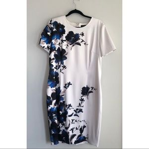 St. John Floral White and Blue Dress